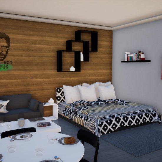 Vizualizace interiéru kanceláře a bytu